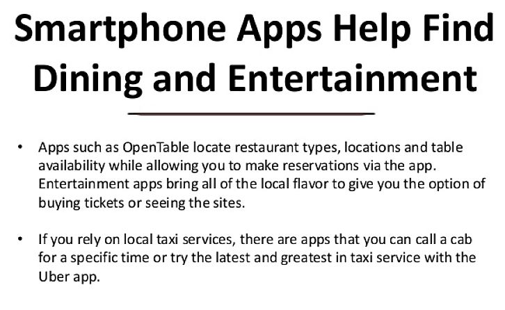 Learn which apps to use to find dining, accommodation and entertainment options