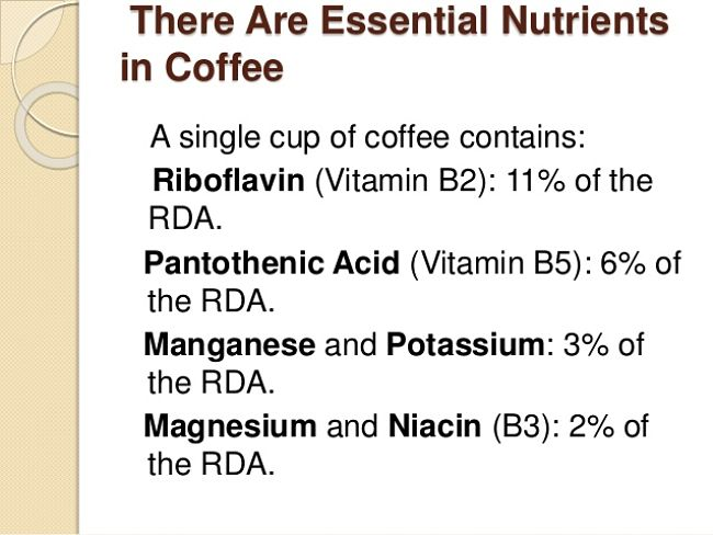 Essential nutrients in Coffee