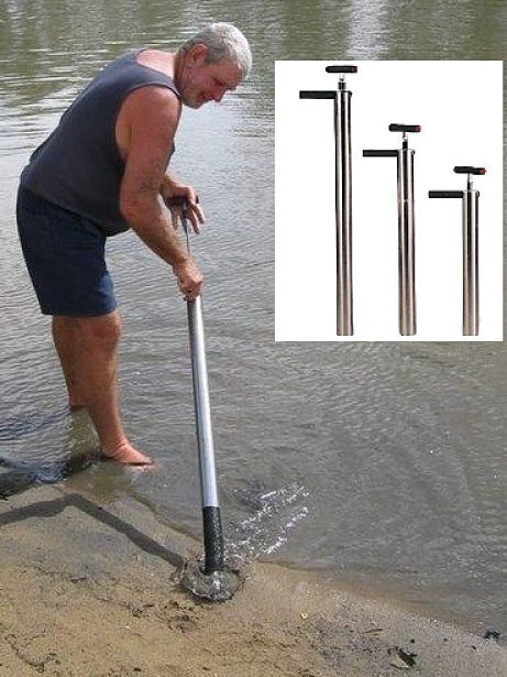 The 'Yabbie Pump' is an excellent tool for sampling the river bed sand and gravel