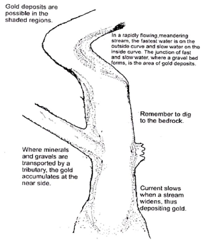 Where to look in a meandering and branching flood plain channel