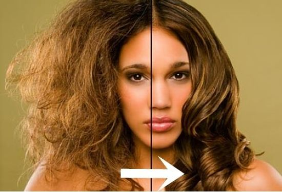 Before and After using simple remedies to treat and control frizzy hair using natural remedies