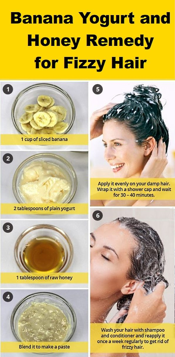 A simple banana, yogurt and honey remedy for fizzy hair that is kind and gentle to you hair and scalp