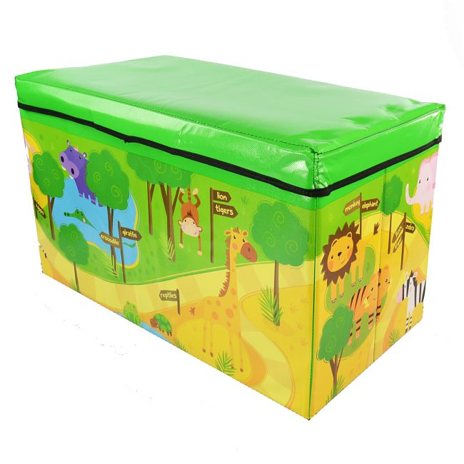 Soft covers on large toy boxes help to prevent injuries from falls and bumps