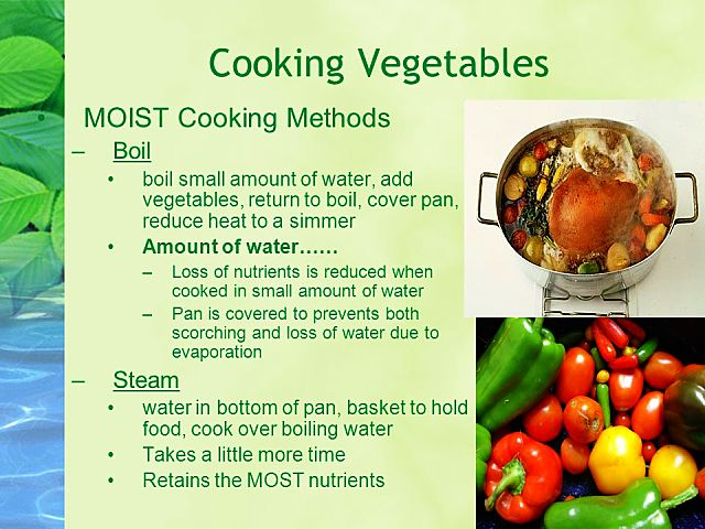 Comparison of boiling and steaming methods for cooking vegetables