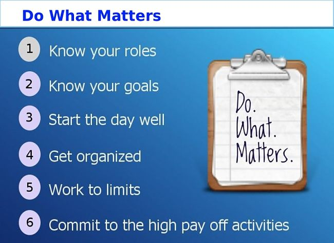 Learn to do what matters first, and proceed in an organised way through an ordered list